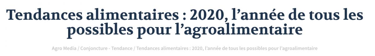 Les tendances 2020 dans l'alimentation
