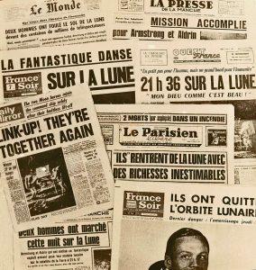 UNES DE LA PRESSE FRANCAISE ET BRITTANIQUE APRES L ALUNISSAGE AMERICAIN DU 21 JUILLET 1969 .