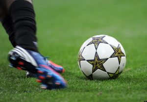 A football player kicks the ball during the UEFA Champions League football match Lille vs. Copenhagen on August 29, 2012 at the Grand stade in Villeneuve d'Ascq, northern France. AFP PHOTO DENIS CHARLET